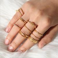 Conjunto de aro conjunto anillo de diamante vintage 12 combinación bobinado anudado tallado conjunto de 12 piezas