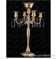 H75cm * W48cm, 5 Kafaları Kristal Mumluk, Mumluk, düğün Centerpiece, çiçek kase mumluk ile kolye altın şamdan