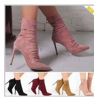 Pointed Toe High Heel Sock Boots Suede Leather Short Ankle B...