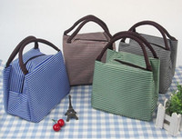 Leisure Women Portable Lunch Bag Canvas Stripe Insulated Coo...