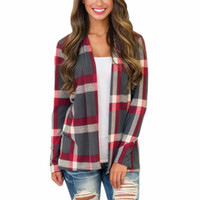 Knitted Cardigan Women 2018 New Autumn Fashion Plaid Print P...