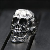 925 sterling silver ring vintage Domineering unique skull in...