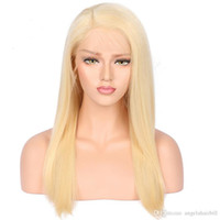 Virgin Human Hair Straight Blonde 613 Color Full Lace Wigs N...