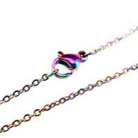"""1.6mm Regenbogen Farbkette Halskette 18 """"Edelstahlkette 18inch 20inch 24inch 28inch"""