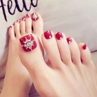 Women Foot False Nail Tips Shining Rhinestone Fake Toes Nail...