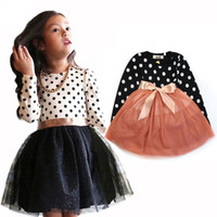 Baby girls Dot dress children Long sleeves Bow lace Tulle pr...
