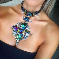 Bijoux de mode Femmes Fleur Collier Pendentif Collier En Cristal Bib Choker Boho Collier Femme Maxi Déclaration Accessoires