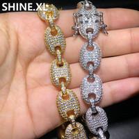 """Bracelet de lien marine de couleur mélangée 13MM Hip hop Bijoux en cuivre Matériel glacé Cubic Zircon Cuban Chaîne Bracelet 8 """""""