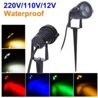 220V-110V Außenbeleuchtung LED-Garten-Licht 3W 9W Rasen-Lampe Wasserdichte 12V Landschaft Birnen-warmes Weiß Grün Spike Spot Lights