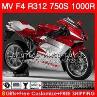 Cuerpo rojo plateado Para MV Agusta F4 R312 750S 1000 R 750 1000CC 05 06 102HM.21 750 S 1000R 312 1078 1 + 1 MA MV F4 2005 2006 05 06 Kit de carenado