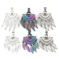 6pcs/lot Mix Three Kinds Of Color Fan shapes Filigree Leaf Bohemia Pendant Pearl Locket Essential Oil Diffuser Beauty Gift
