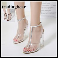 Big size 35 to 40 41 42 Silver clear transparent high heel s...