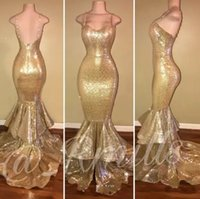 Bling Gold Sequins Mermaid Prom Dresses 2018 Spaghetti Strap...