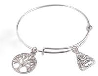Винтаж Серебряный Дерево жизни Будда браслеты расширяемые проволочный браслет панк свадьба манжеты подвески браслеты для женщин ювелирные изделия мода подарок Bijoux