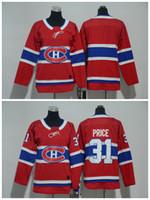 2018 Crianças Jovens Montreal Canadiens Hóquei No Gelo Jerseys Barato # 31 Preço Carey Boys Jerseys Em Branco Autêntico Costurado Jerseys