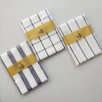 Оптовая Средиземноморский синий серии решетки полосатый полотенце салфетка, еда фон ткань скатерть, три стиля, бесплатная доставка