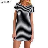 Zsiibo Новый женский сарафан черный белый полосатый o шеи мини-платье женщина лето короткое платье плюс размер женщины одежда халат сексуальный 2018 lyq79 rf