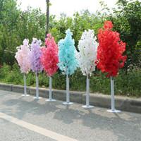 1.5 M 5 pies de altura Blanco Artificial Cherry Spring Plum Peach Blossom Árbol de flor Columna romana Carretera citada para centro comercial de boda Apoyos abiertos