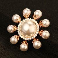 Жемчужный подсолнух брошь для женщин Моды Позолоченных Урожай Броши Pins Кристалл шарф пряжки индийских ювелирным 2016 года сейчас