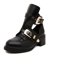 women' s ankle boots platform with golden buckles shoes ...