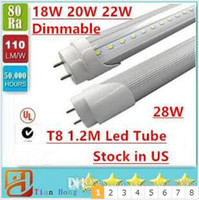 Stock in US Dimmerabile 4ft 1200mm T8 Led Tube High Light Super Bright 22W 28W Warm White freddo Led Lampadine fluorescenti AC110-240V