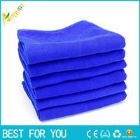 10 teile / satz 30 * 70 cm Blau Weiches Handtuch Auto Reinigung Mikrofaser Saugfähigen Handtuch Reinigen Wachs Valeted Waschlappen