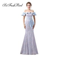 Elegant Girls Dress Boat Neck Short Sleeves Mermaid Lace Lon...