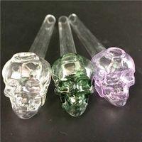 """Hornillos de aceite de vidrio de 5.5 """"de largo con cánula de vidrio Skull Tubo de vidrio de colores grueso para fumar"""