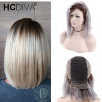 130% Ombre 1B Grey Short Bob Wigs With Baby Hair 13*4 Lace F...