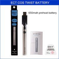 650mAh батарея подогрева ECT COS Twist vape картриджи комплект vape O ручка переменного напряжения 3.3-3.3--3.9-4.2v батарея испарителя e сигарета