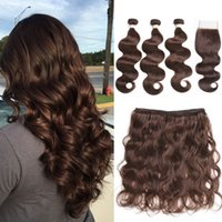 Brazilian Pre- Colored Human Hair Weave with 4*4 Closure 3 Bu...