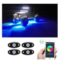 RGB LED ضوء الصخور مع التحكم BluetoothAutomatic تحت OffRoad Truck SUV ATV