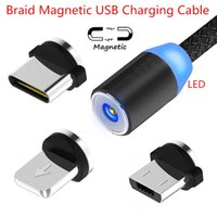 Nylon Braided LED Magnetic Cable USB Type C & Micro & 8 Pin ...
