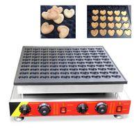 Ticari yapışmaz Elektrikli Kalp şeklinde Poffertjes Makinesi 100 adet / toplu Mini Gözleme Izgara Waffle makinesi 110 v 220 v Yepyeni