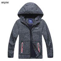 Aipie 3025 новый бренд дети мальчик куртки сплошной серый предотвратить ветер и дождь с капюшоном верхняя одежда пальто для 4-12 лет мальчик