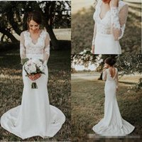 Charming V Neck Mermaid Wedding Dresses Long Sleeve Lace Apl...