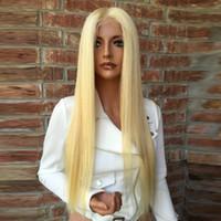 8A İpeksi Düz # 613 Balck Kadınlar Için Sarışın Dantel Ön Peruk Kadın Bakire Brezilyalı Bal Sarı Saç Tutkalsız Tam Dantel İnsan Saç Peruk Bebek Saç