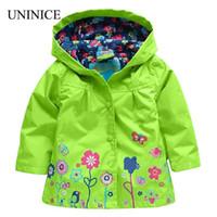 2017 outono new baby meninas outwear windbreak jacket casaco para crianças marca flor casaco com capuz crianças à prova de intempéries roupas personalizadas