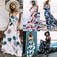 2018 5 colors Summer Floral Print Maxi Dresses Womens Beach ...