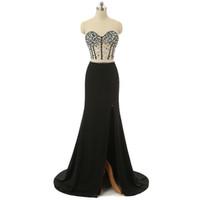 Moda Seksi İki Adet Gelinlik Modelleri Uzun Mermaid Gelinlik Modelleri Siyah Robe de Soiree Sevgiliye Boncuk Armut Yüksek Yarık Akşam Parti Törenlerinde