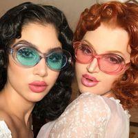 12 ألوان صغيرة الإطار البيضاوي نظارات شمسية ملونة مع انبهار الجسيمات عدسة باردة حزب لامعة النظارات بالجملة Melody2041