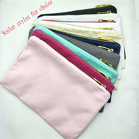 Borsa per il trucco in tela di cotone 9color styles con zip dorata fodera in oro nero / bianco / crema / grigio / blu / menta / rosa caldo / rosa chiaro borsa da toilette in stock