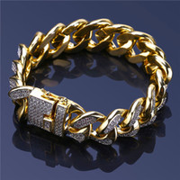 Bling Ice Out Hiphop Bracelets Gold Cubic Zirconia Chains Fo...
