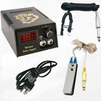 2018 digitale LCD-Tattoo-Stromversorgung + Fußblätter + Clip-Kabel für Tattoo-Gun-Nadel-Tinte-Griff-Kits