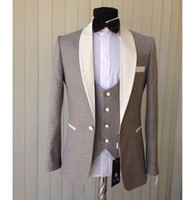 Cheap Light Grey Groom Tuxedos Three Piecs Ivory Shawl Colla...