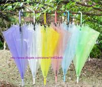 20 unids FedEx DHL envío gratis paraguas transparentes transparentes paraguas de PVC largo asa paraguas impermeable 6 colores