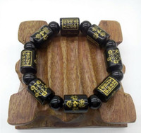 Vente en gros - DropShipping Obsidian Black six mots Buddha Beads Bracelet Bangles Hand String Lucky Amulet Hommes Femmes jewerly