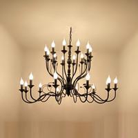 الحديثة الثريا الإضاءة e14 24 رؤساء شمعة الأسود خمر العتيقة الثريات المنزل ل غرفة المعيشة الأوروبية بقيادة مصباح