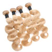 El cabello humano brasileño virgen Miel Rubio teje extensiones 4 Unids Onda del cuerpo Ondas de cabello ondulado # 27 Fresa Rubia Virgin paquetes de cabello humano