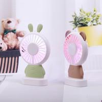 2018 무료 배송 편리한 팬 Linglong 토끼와 Damo 곰 휴대용 팬은 얇은 미니 USB 팬 조명을 주도